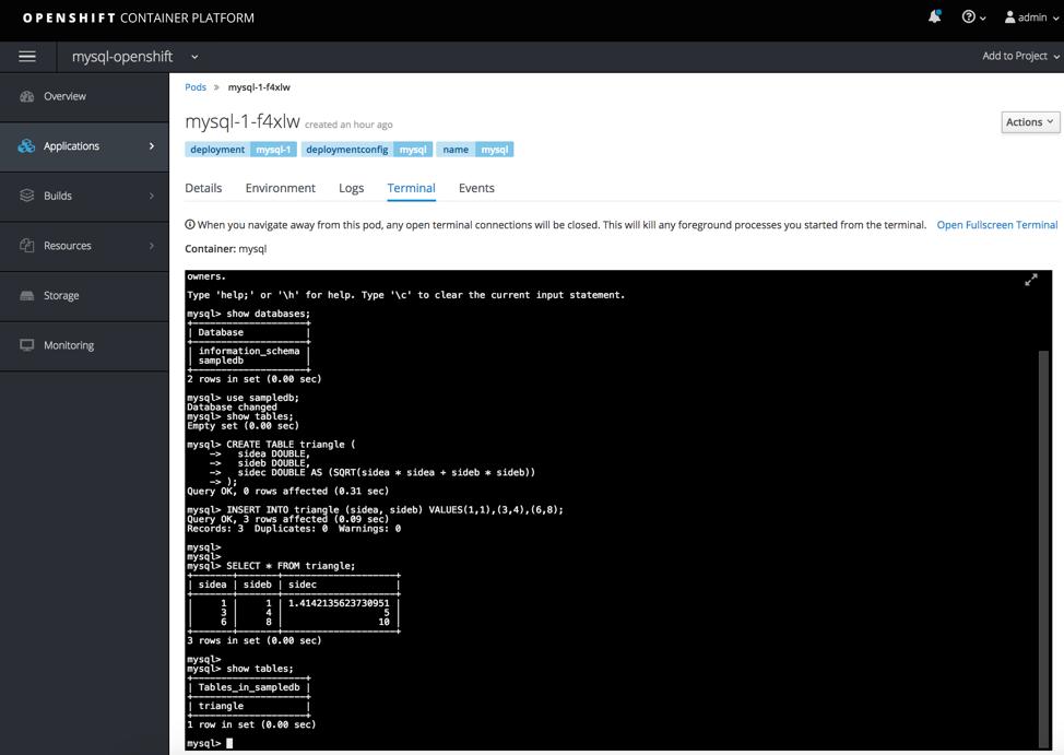 openshift databases create mysql table