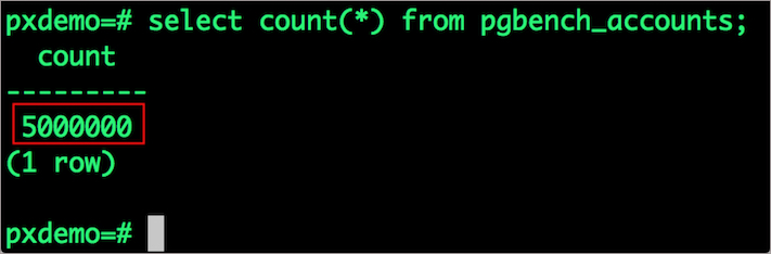 verify pgbench_accounts records