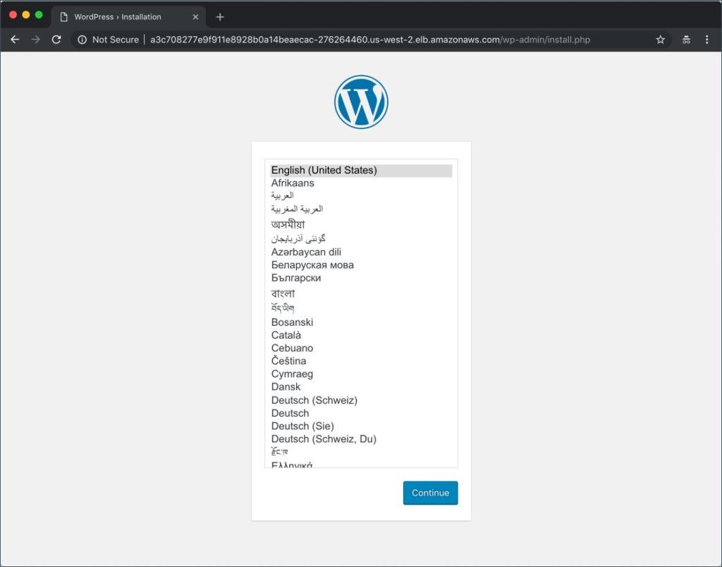 wordpress on eks