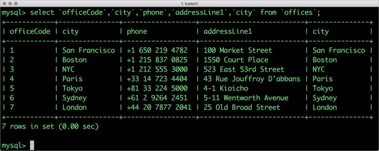 <pre> mysql> select `officeCode`,`city`,`phone`,`addressLine1`,`city` from `offices`;