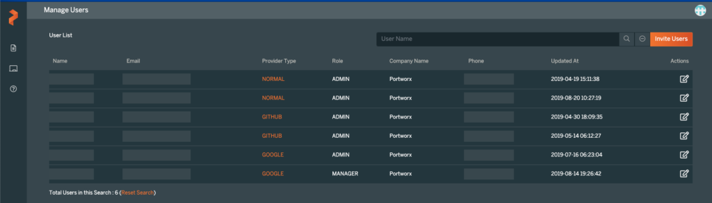 px-central manage users